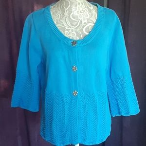 Blue Knit 3/4 Sleeve Cardigan
